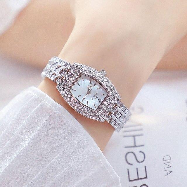 Goud Zilver Vrouwen Horloge Beroemde Luxe Merken Kristal Diamant Horloge Mode Dames Quartz Horloge Armband Gift Relogio