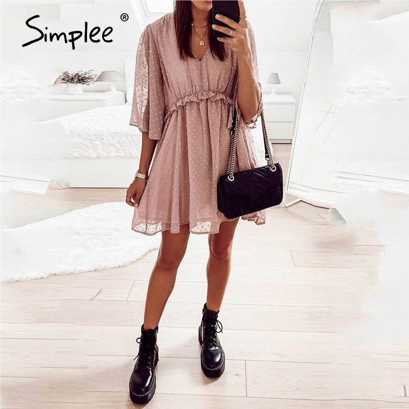 Simplee Sexy v-neck women ruffle pink dress Elegant dot print backless short sundress Summer office ladies casual mini dress