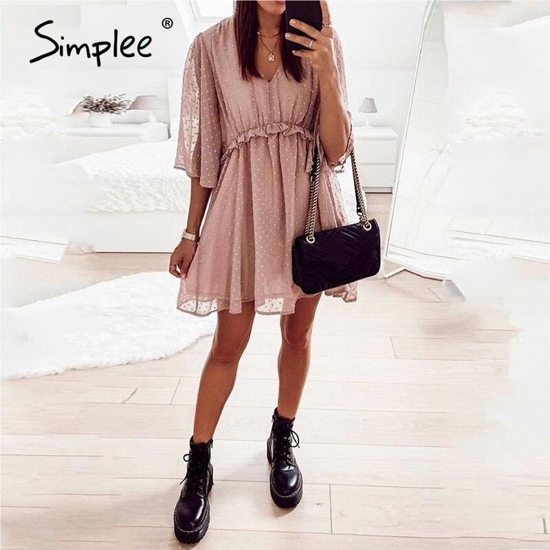 Simplee Sexy V-neck Women Ruffle Pink Dress Elegant Dot Print Backless Short Sundress Summer Office Ladies Casual Mini Dress