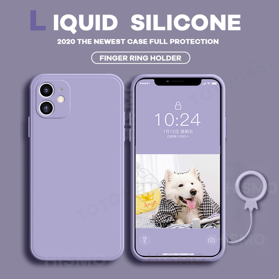 Liquid Silicone Soft Case for IPhone 11 12 Pro Max Case With Ring Holder Cover for IPhone XS Max XR X 6 8 7 Plus SE 2020 Case(China)