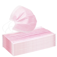 Disposable Non-Woven 3 layer Mouth Mask Pink Mouth Face Masks Meltblown Cloth Masks Earloops Masks