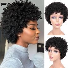 FAVE krótki Afro peruka spiralne kręcone ludzkie włosy peruki dla czarnych kobiet włosy brazylijskie Remy krótki Afro perwersyjne kręcone peruka z ludzkich włosów 6 5 cali tanie tanio CN (pochodzenie) Remy włosy Spiralne Zwijanie Brazylijski włosy Średnia wielkość Jasny brąz Wszystkie kolory Swiss koronki