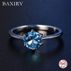 2019 New Aquamarine Ring Trendy Blue Sapphire Ring Silver 925 Jewelry Amethyst Gemstone Ring Silver Engagement Rings For Women(China)