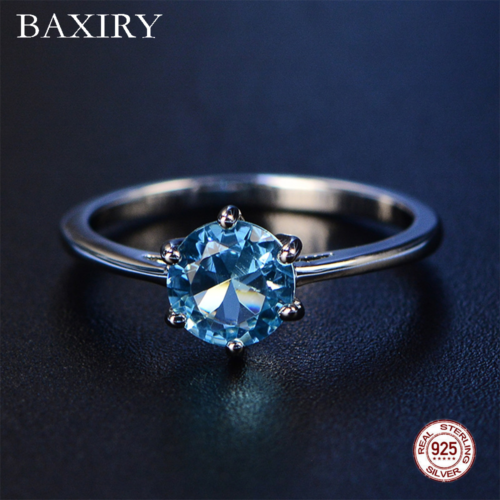 2019 New Aquamarine Ring Trendy Blue Sapphire Ring Silver 925 Jewelry Amethyst Gemstone Ring Silver Engagement Rings For Women