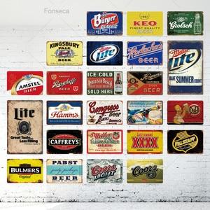 Beer Sign Metal Sign Plaque Metal Vintage Pub Tin Sign Wall Decor For Bar Pub Club Man Cave Tin Plates Metal Beer Poster(China)