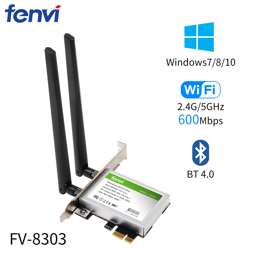 600Mbps Dual Band PCI Express WiFi Adapter Wireless-AC Network Card Bluetooth 4.0 802.11a/b/g/n For Desktop