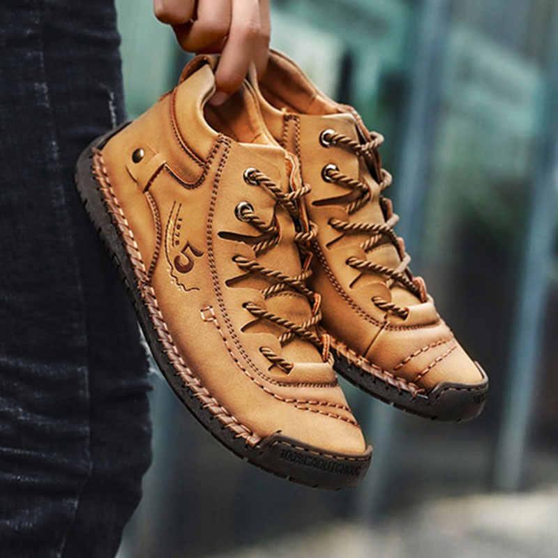 2019 erkekler kış ayakkabı deri sıcak erkek ayakkabısı rahat Mans ayakkabı kürk su geçirmez yarım çizmeler erkekler dantel-up ayakkabı büyük boy