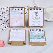 Ручной рисунок свежий мультфильм Мини Фламинго настольная бумага календарь двойной ежедневный планировщик стол планировщик годовой Органайзер дня