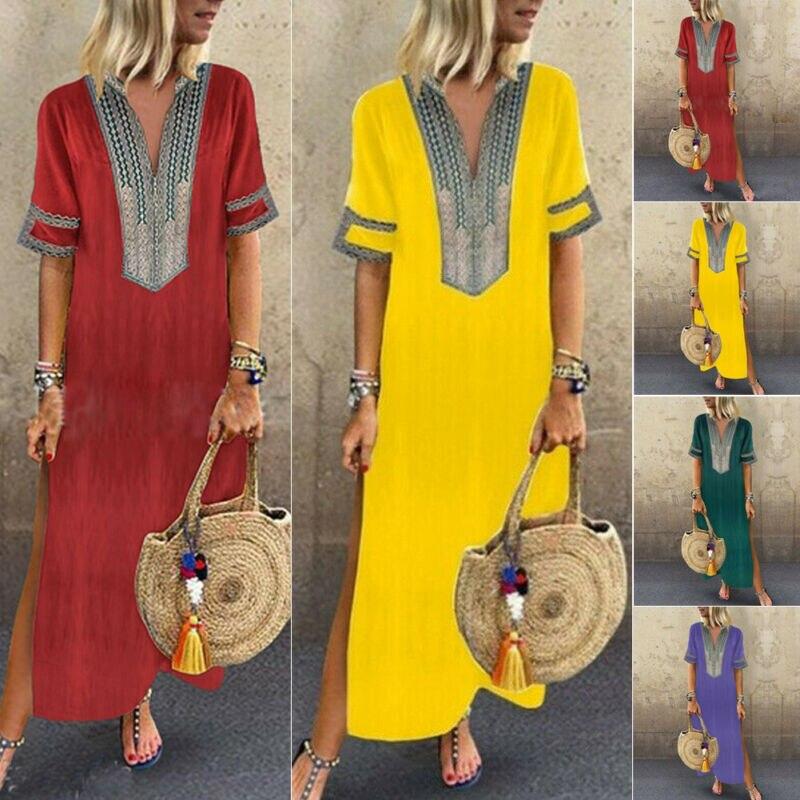 Boho Maxi Dress Short Sleeve V Neck Floral Baggy Loose Tunic Kaftan Dresses Women Beach Holiday Sundress Long Vestidos Plus Size