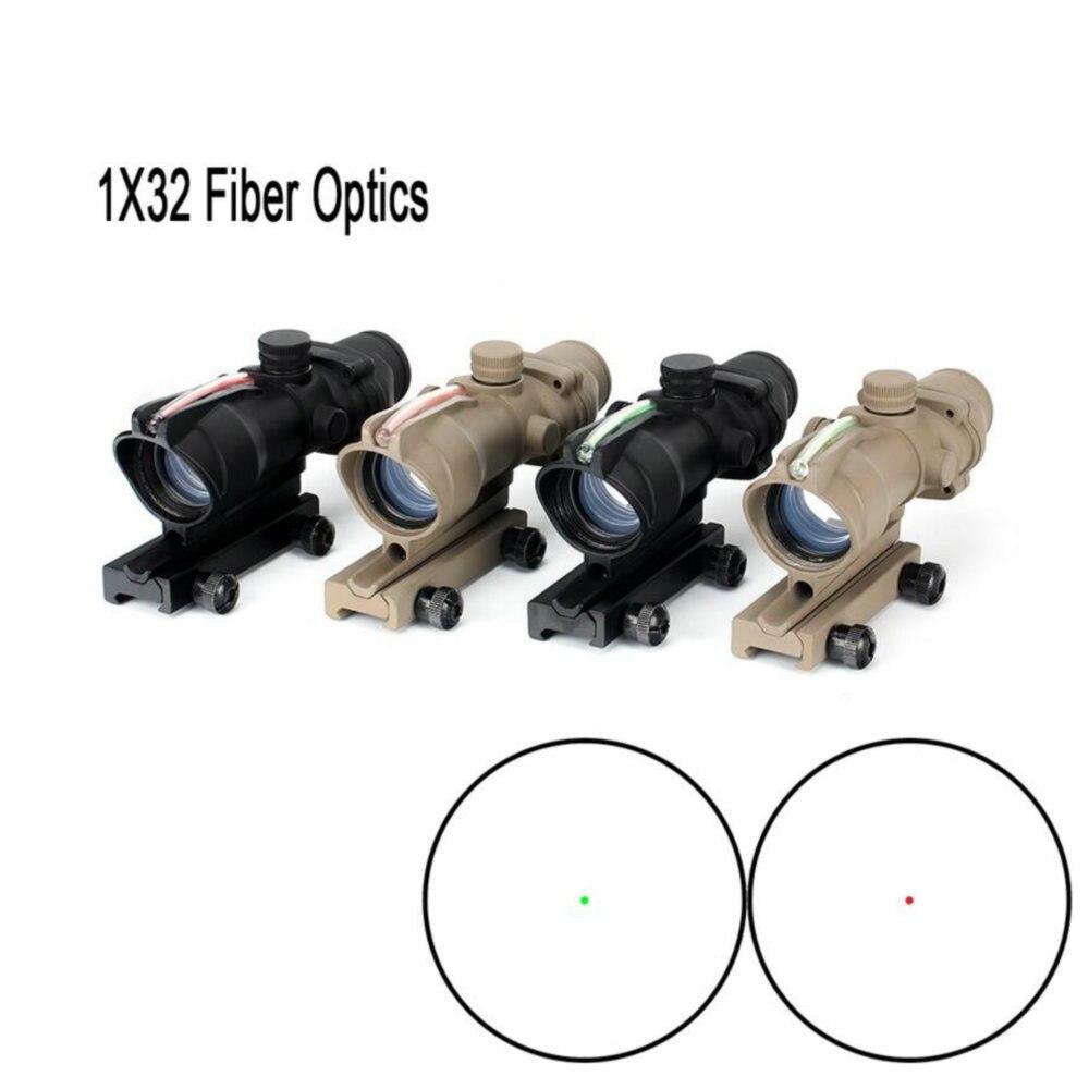 Ohhunt 1x32 Hunting RifleScopes Red Or Green Dot Sights Real Fiber Optics M16 Rifle Tactical Optical Scope Fit Picatinny Rail