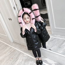 Girls Hooded Fur PU Coat Jacket Thick Coat High Quality Plush Leather Warm Jacket Winter Children's Wear Jacket Warm Fur brand baby infant girls fur winter warm coat 2018 cloak jacket thick warm clothes baby girl cute hooded long sleeve coats jacket