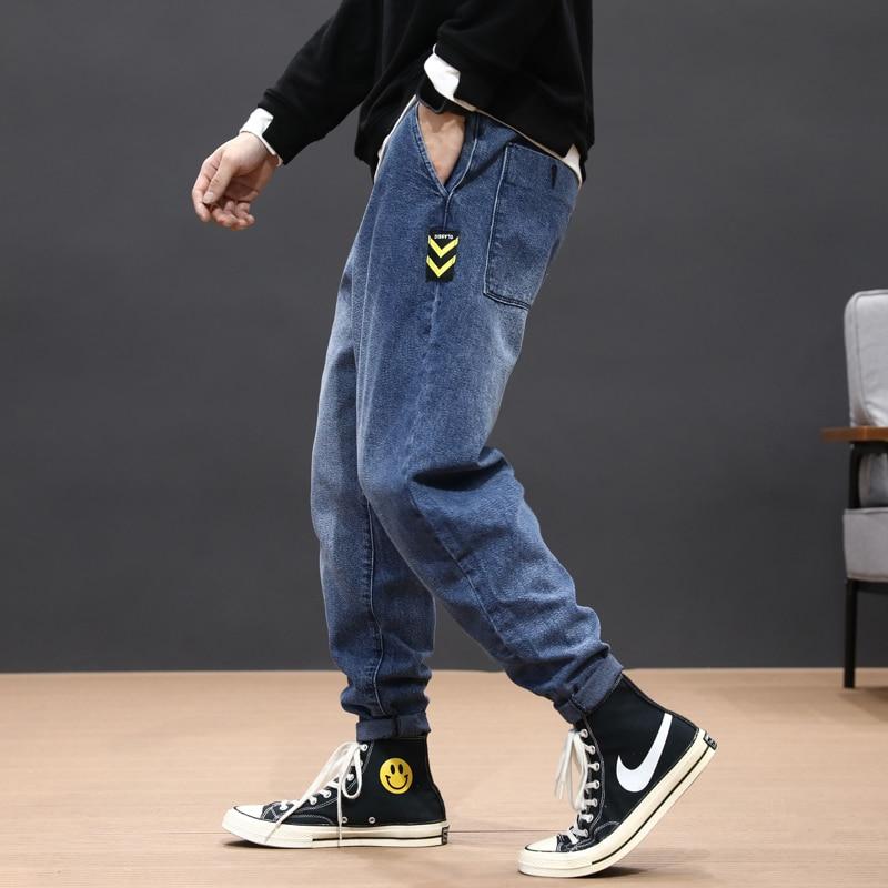 Japanese Fashion Men Jeans Loose Fit Patches Designer Elastic Harem Pants Blue Gray Streetwear Hip Hop Jeans Men Pencil Pants