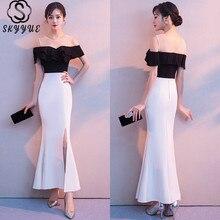 Skyyue Ruffles Short Sleeve Prom Dress O-Neck Contrast Color Vestidos De Fiesta Split Wrap Ankle-Length Vestidos De Gala XH002 plus contrast binding asymmetrical wrap dress