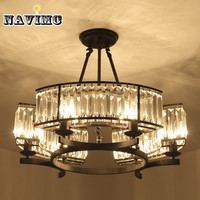 Vintage Loft Style Crystal Lighting Fixture Bronze Black Chandelier Lamp Shade Lamps for Living Room E14 Led Lamp