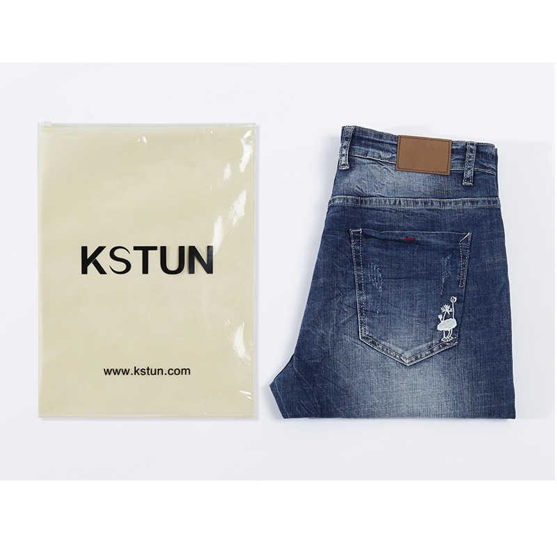 Kstun Jeans Mannen Stretch Zomer Blauw Business Casual Slanke Rechte Jeans Mode Denim Broek Mannelijke Broek Regular Fit Grote Maat