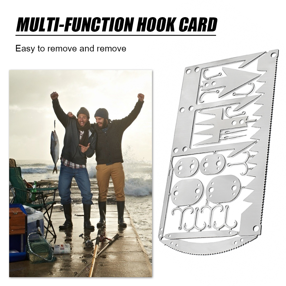 Camping Survival Card 12 in 1 Multitool Pocket Knife Fishing Hook Fork Saw Multifunctional Arrow for Hunting Outdoor Tool(China)