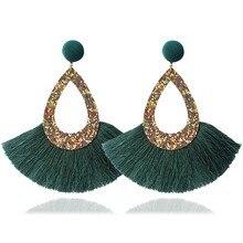2019 Fashion Sequins Fringe Tassel Drop Earrings Hollow Teardrop Ladies Women Geometric Personality Party Jewelry New