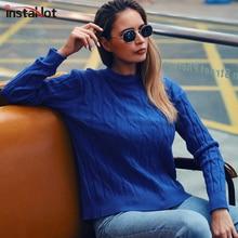 InstaHot Blue Casual Sweater Autumn Winter Women Jumper Knitted Pullover Round Neck Twist rFemale 2019 Hot Sale