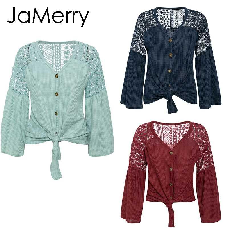 JaMerry בציר סקסי נשים חולצה אלגנטי תחרת רקמה חלול החוצה רופף שרוול משרד חולצות תחרה עד סתיו נשי חולצה חולצה