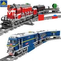 Stadt Power-Angetrieben Diesel Schiene Zug Fracht Mit Track Bausteine Sets Technik Playmobil Kit DIY Bricks Montage Kinder spielzeug