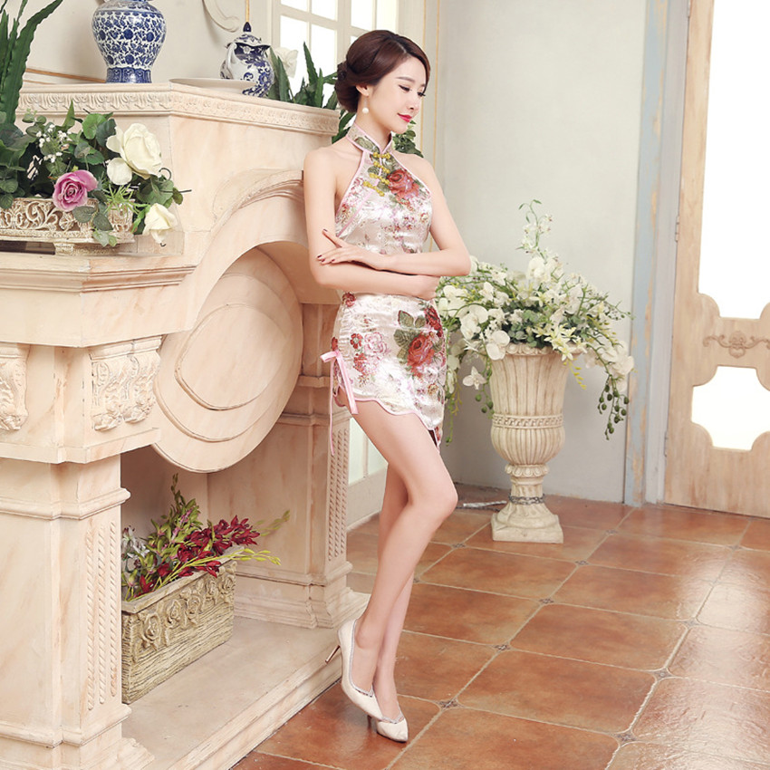 White Chinese Traditional Women Dress Cheongsam Silk Satin Sexy Bodycon Sleeveless Short Flower Backless Shoulder Off Qipao