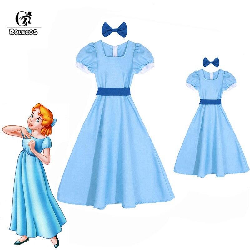 ROLECOS Wendy Liebling Kleid Peter Pan Cosplay Kostüme Mädchen Blauen Kleid Frauen Lange Kostüm Halloween Party Rachel Cosplay
