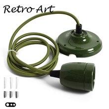 E27 Porcelain edison style Pendant Lamp kit retro ceramic Ceiling Rose lamp cord set