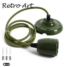 E27 Sứ Edison phong cách Mặt Dây Chuyền Đèn Bộ Retro gốm Ốp Trần đèn Bộ dây