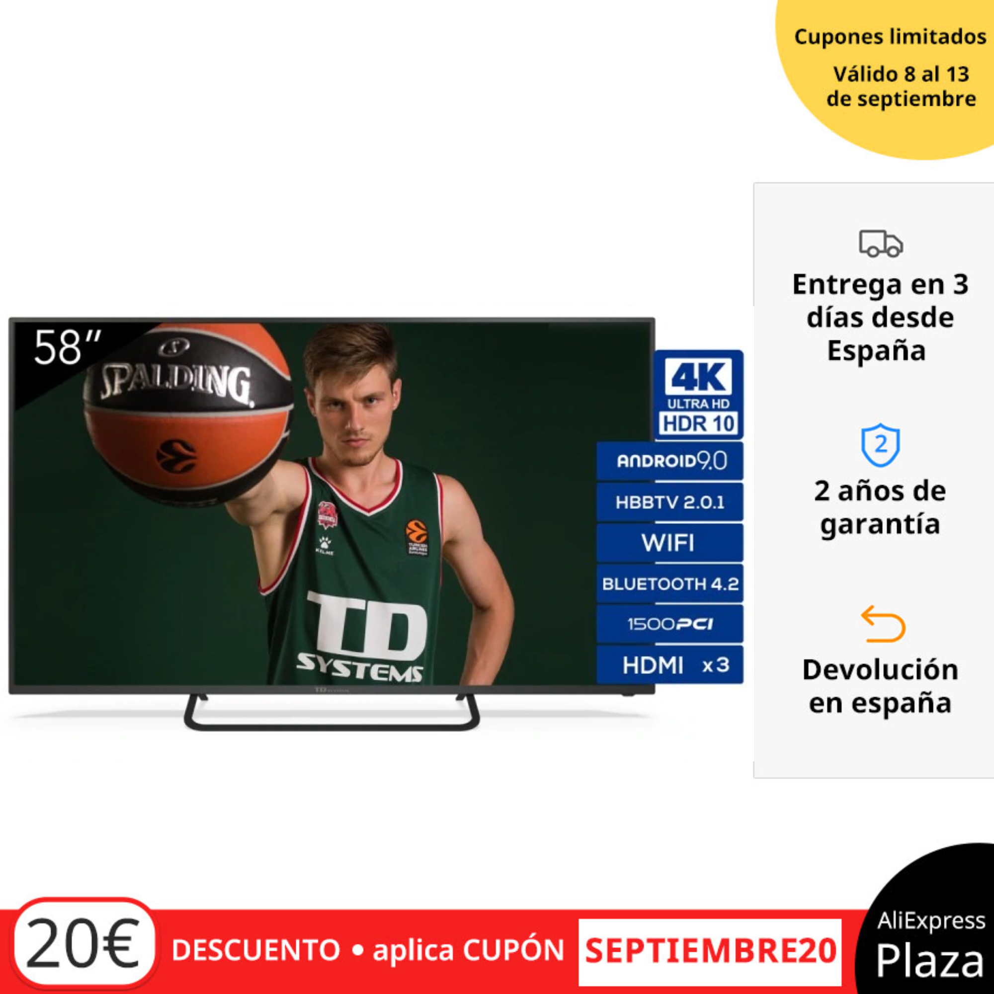 Televisores Smart TV 58 Pulgadas TD Systems K58DLX11US. UHD 4K HDR, DVB-T2/C/S2, HbbTV [Envío desde España, garantía de 2 años]
