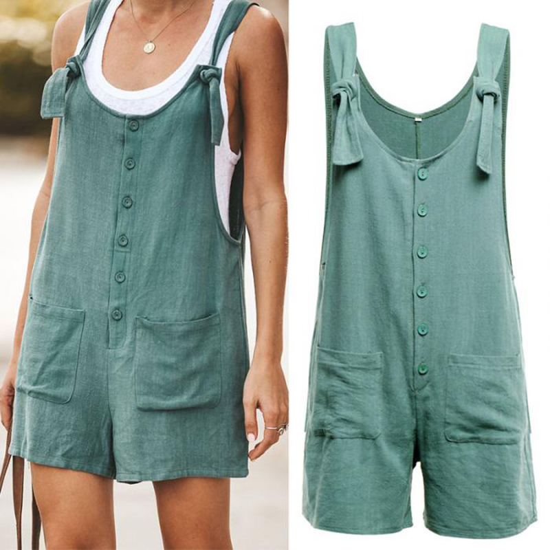 Women Rompers Summer Casual Loose Sleeveless Jumpsuit Solid Button Pocket Suspenders Bib Short Pants Wide Leg Playsuits Overalls