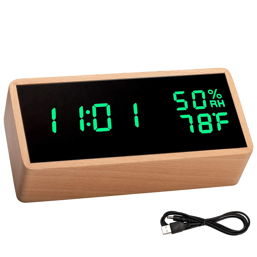 Wooden Digital LED Alarm Clock Sounds Control Electronic Table Clock with Temperature Humidity LED Desk Clocks Despertador image