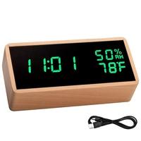 Wooden Digital LED Alarm Clock Sounds Control Electronic Table Clock with Temperature Humidity LED Desk Clocks Despertador