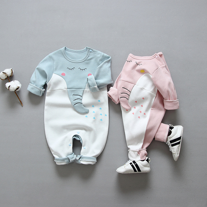 New Autumn Baby Newborn Baby   Rompers   Long Sleeve Cartoon Casual 3D Elephant Giraffe Clothes Boys Cotton Jumpsuit High Quality