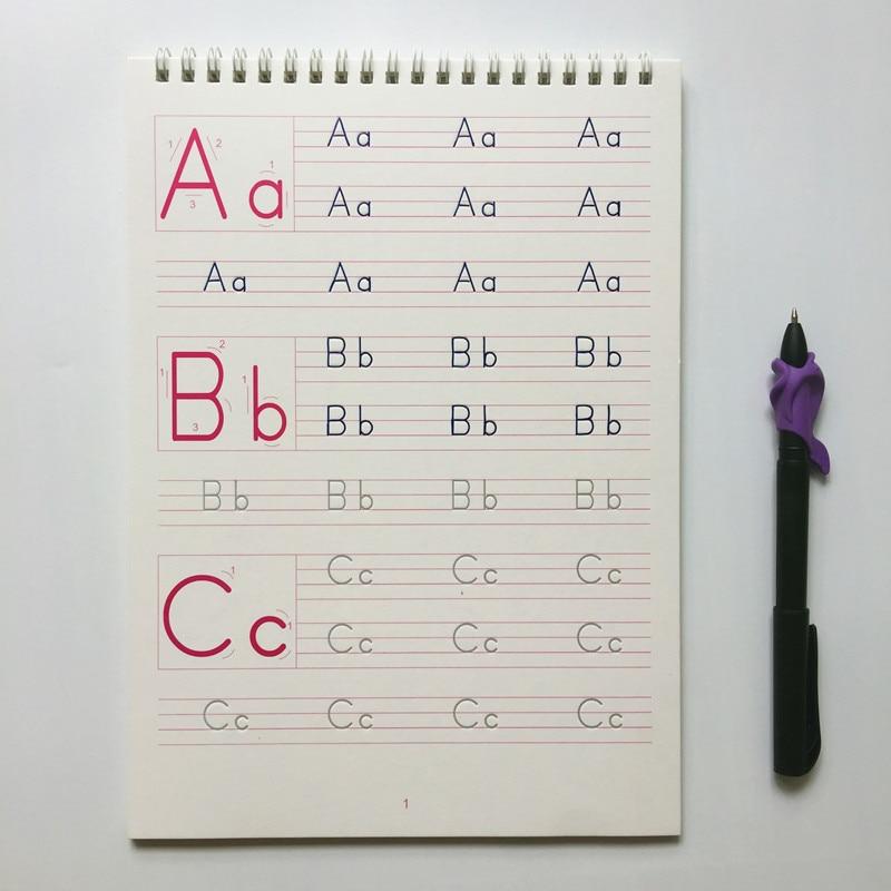 1 Pcs Children Alphabet ABC Groove Copybook English 26 Alphabet Exercise Book Kindergarten Baby Pre-school To Write The Text