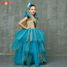 Винтажное бальное платье с павлином для девочек; Пышное Платье-пачка с перьями и повязкой на голову; детское вечернее платье принцессы для выпускного бала; костюм