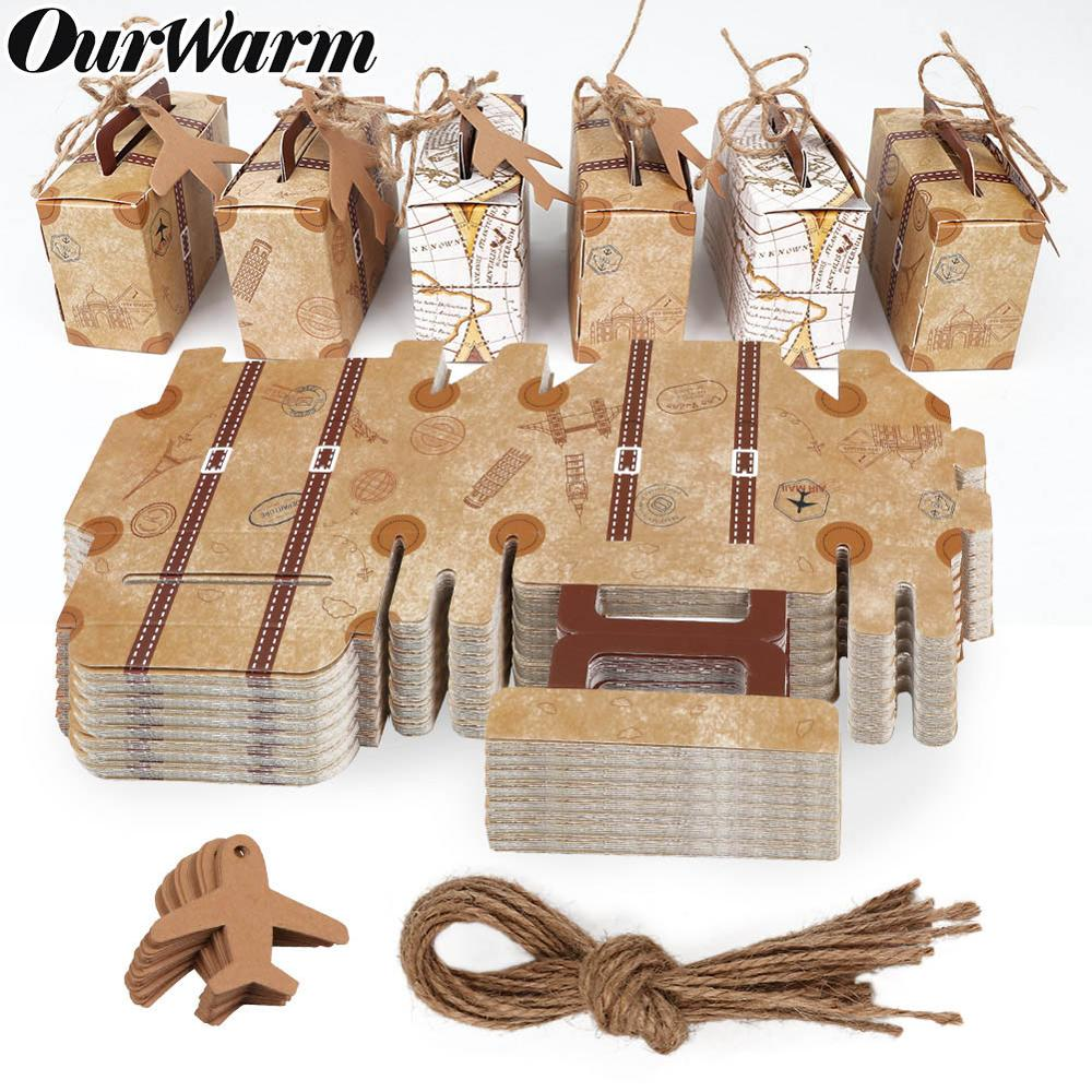 OurWarm 10/20pcs Suitcase Candy Boxes Upgrade Style Chocolate Box Travel Classic Theme Gift Wedding Birthday Anniversary Favor