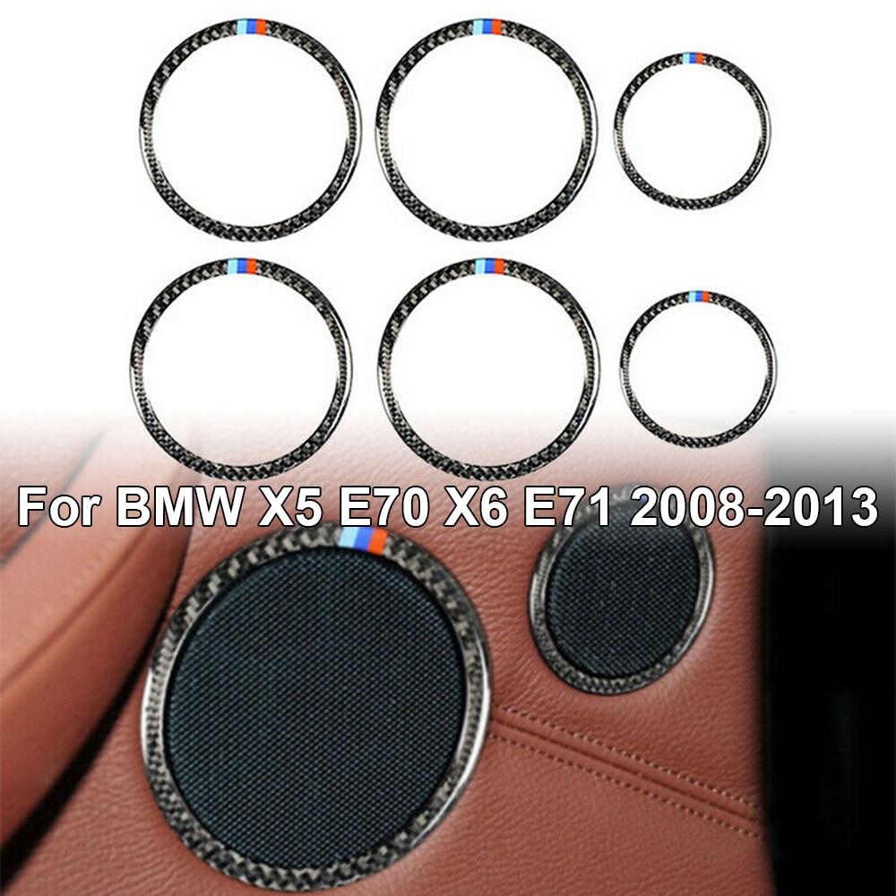6pcs/Set Carbon Fiber auto Car Door Audio Speaker Ring Trim stickers Auto car Decorative sticker For BMW X5 E70 X6 E71 2008-2013