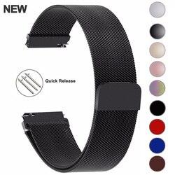 20 мм 22 мм 18 мм samsung Galaxy Watch Band 42 46 мм ремешки петля Миланский ремешок из нержавеющей стали Active2 40 44 gear S3 14 16 18 24 мм