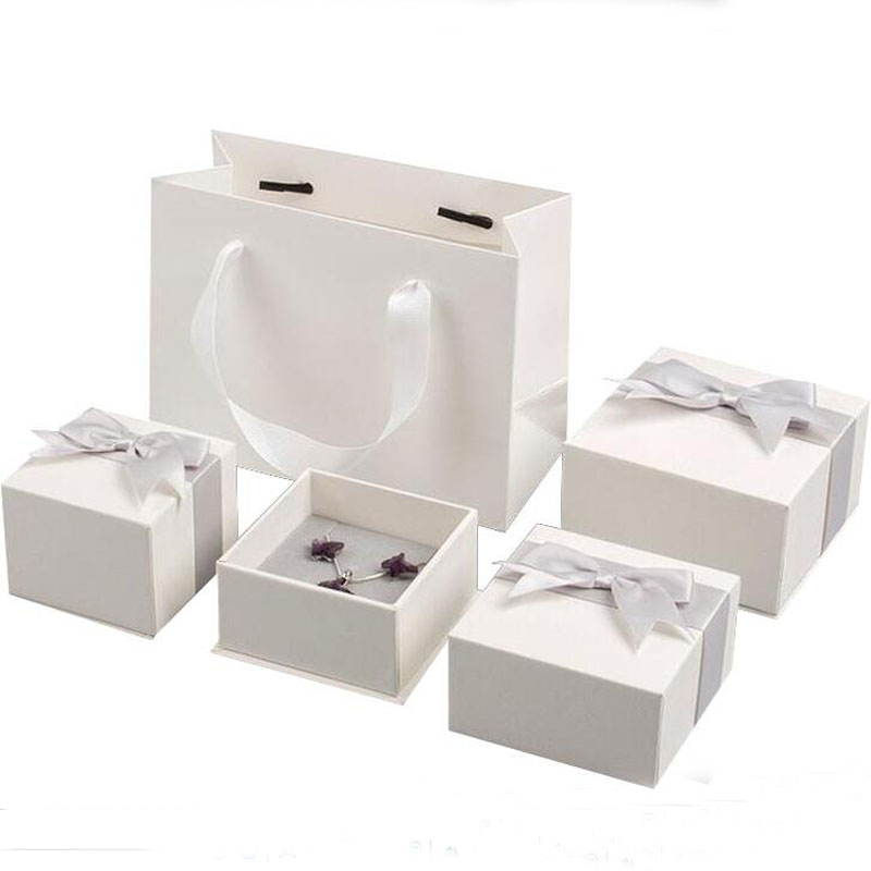 High Quality White Paper Box Of Necklace Ring White Boxes With Ribbon Jewelry Bag Earring Box Gift Box Jewellery Organizer Boxes