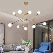 Plafonnier suspendu en forme darbre, Design créatif nordique post moderne, luminaire décoratif de plafond composé de molécules et de haricots