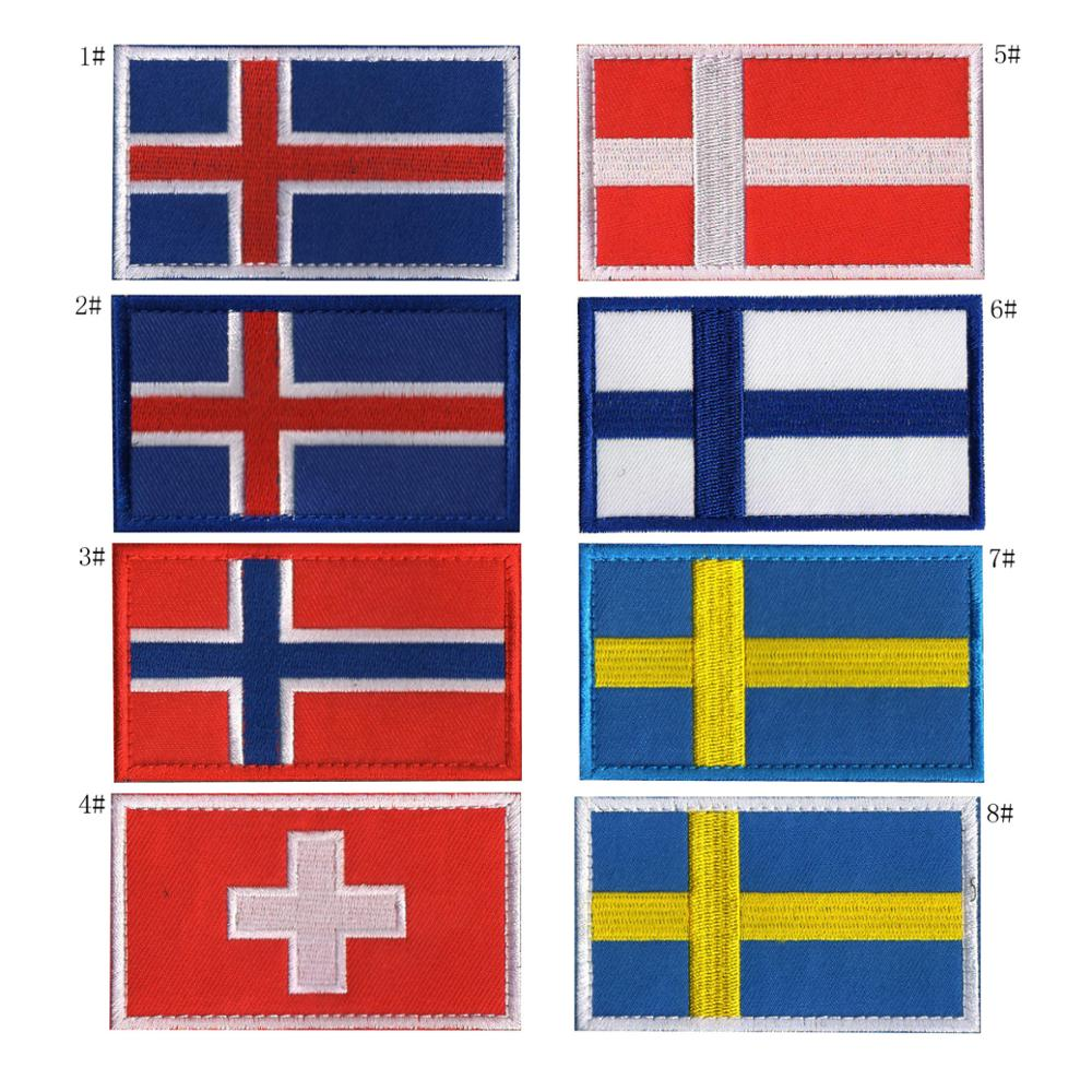 Sweden Norway Denmark Iceland Finland Switzerland National Flag Embroidered Patches Badges Europe Flag Striped Clothes(China)