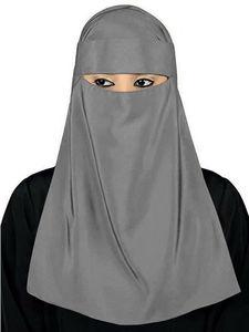 Image 3 - Müslüman başörtüsü İslam peçe Burqa Burka Niqab Nikab kadınlar katı renk Amira eşarp şapkalar arap namaz türban başörtüsü kapak