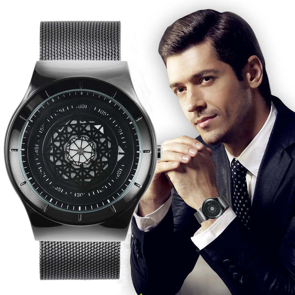KCHKE New ProductBusiness Stainless Steel Hook Buckle Glass Men Watchs Round Quartz Simple Noble Elegant Black Silver Gift