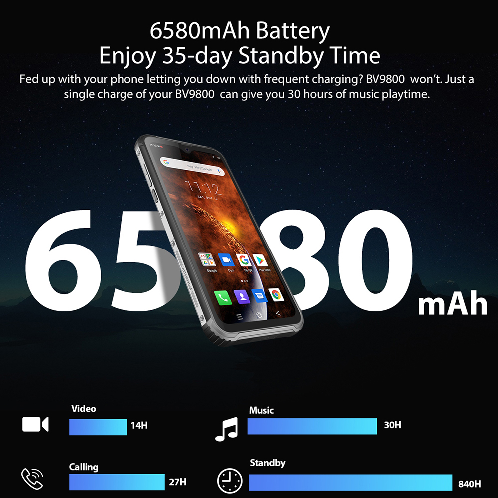 Blackview BV9800 Helio P70 Android 9.0 6GB+128GB Smartphone 48MP Rear Camera IP68 Waterproof 6580mAh 6.3\
