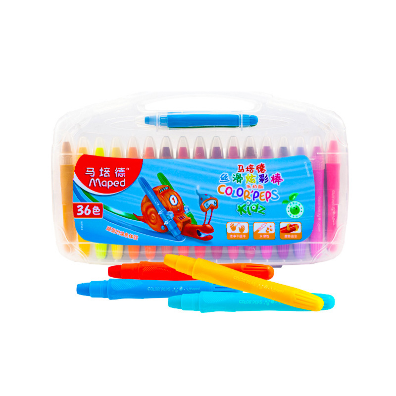 MAPED Crayon 36 Color Spin Rod Rotating Water-Soluble Crayon Children Brush Coloured Drawing Set-Washing