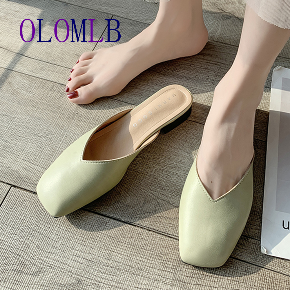Summer Single Shoes Woman Pu Leather Breathable Mules Slippers Moccasins Bow Slip-on Square Heel Sandals Women Slippers A906