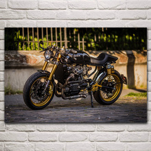 Posters Frame Art-Decor Wood Motorcycle Living-Room Wall Superbikes Home Fabric Cafe
