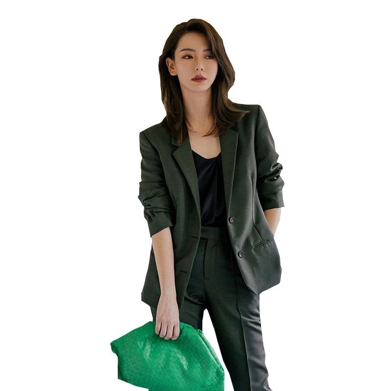 Womens Tops And Blouses New Style Temperament Commuter Casual Suit Suit Female Professional Suit Nine Pants 2 Sets