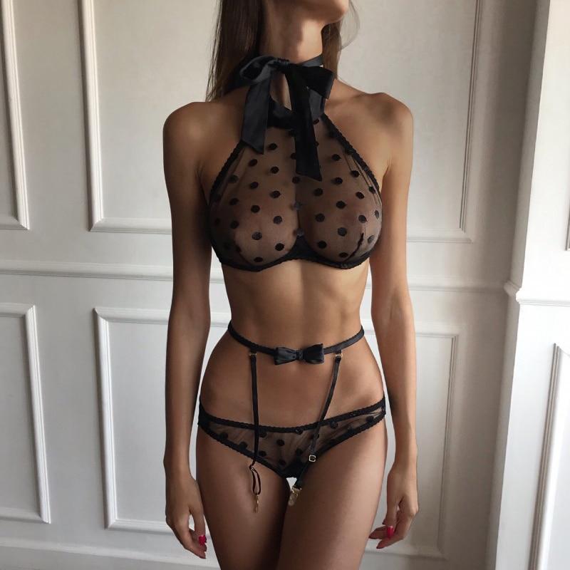 Women Sexy Lingerie Lace Babydoll Open Bra Crotch Bodystocking Nightwear Sex Set