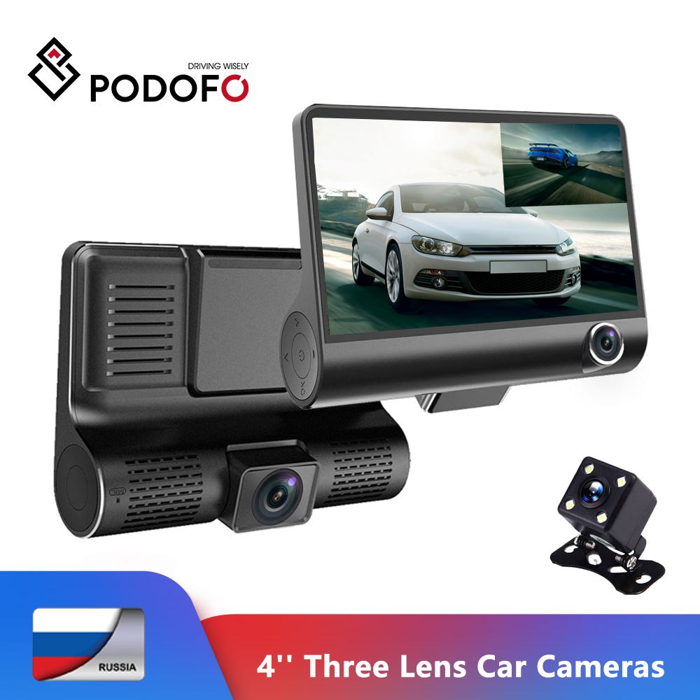 "Podofo Car DVR 4"" Three Lens Car Camera Dashcam cycle recording registrar Video Recorder Camcorder DVRs Registrator G-sensor"